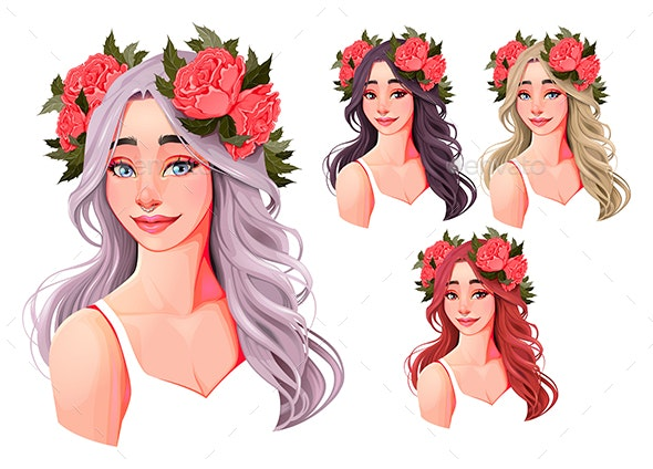 Girls with Flowers on Their Heads - People Characters