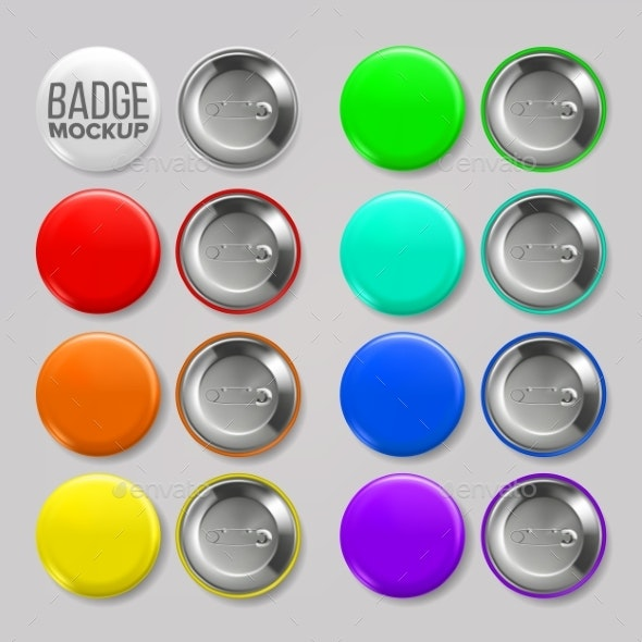 Badge Mockup Set Vector - Man-made Objects Objects