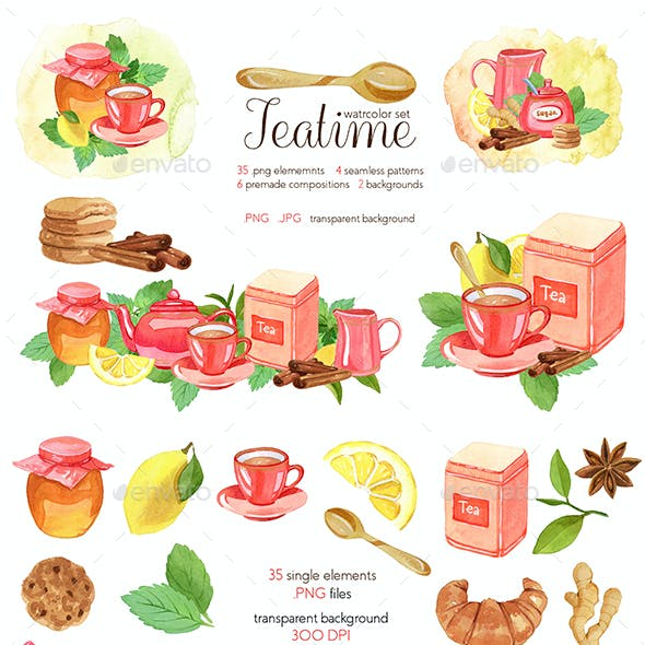 Watercolor Teatime Clipart Collection