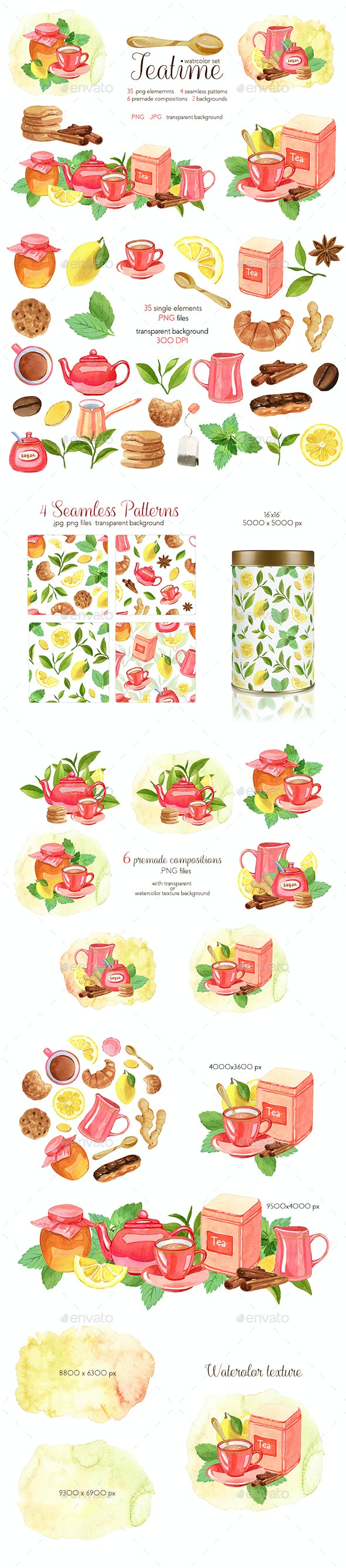 Watercolor Teatime Clipart Collection - Objects Illustrations