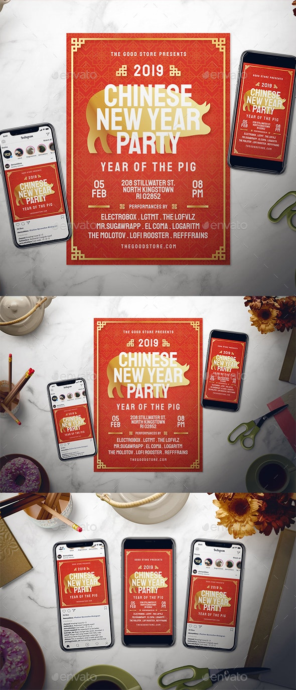 Chinese New Year Flyer Set - Holidays Events