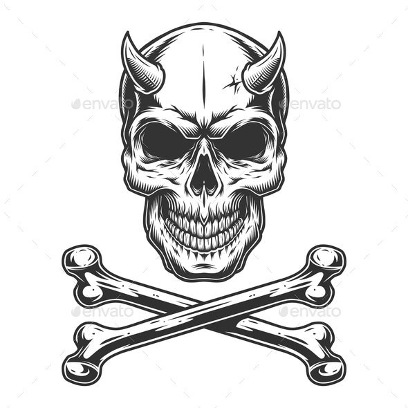 Vintage Demon Skull - Miscellaneous Vectors