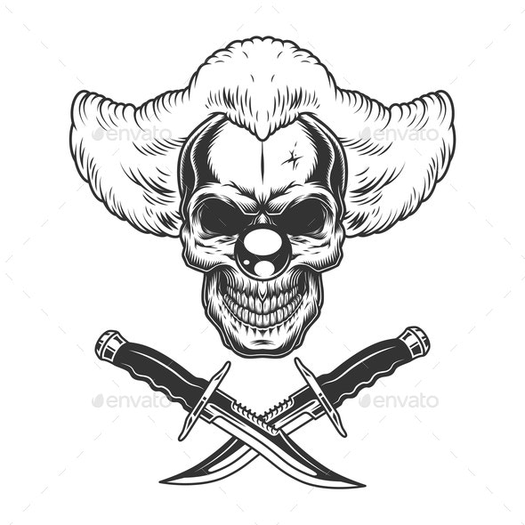 Vintage Clown Skull - Miscellaneous Vectors