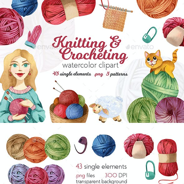 Watercolor Knitting and Crocheting Set