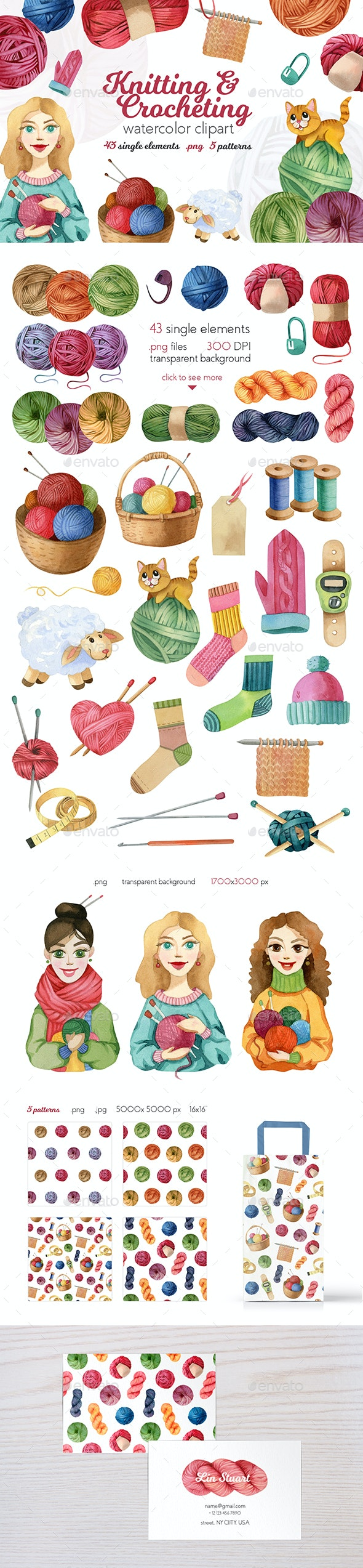 Watercolor Knitting and Crocheting Set - Objects Illustrations
