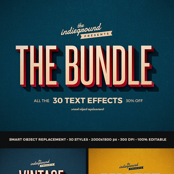 Retro Vintage Text Effects Bundle Vol. 1-3