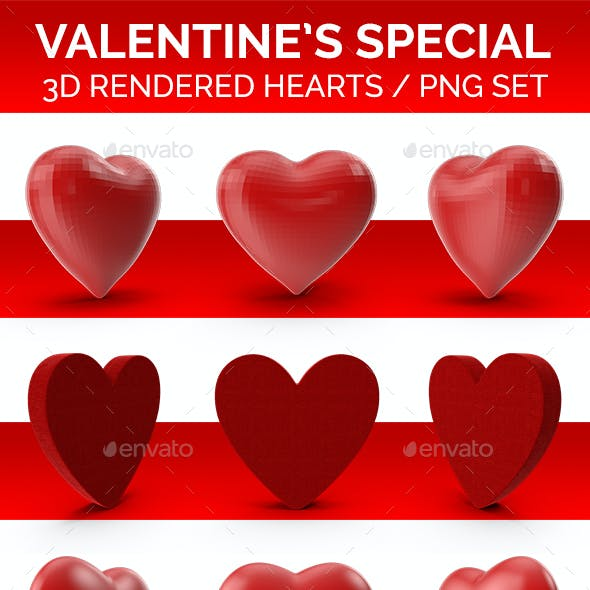 Valentine's Special Hearts PNG Set 3D Rendered with Shadows