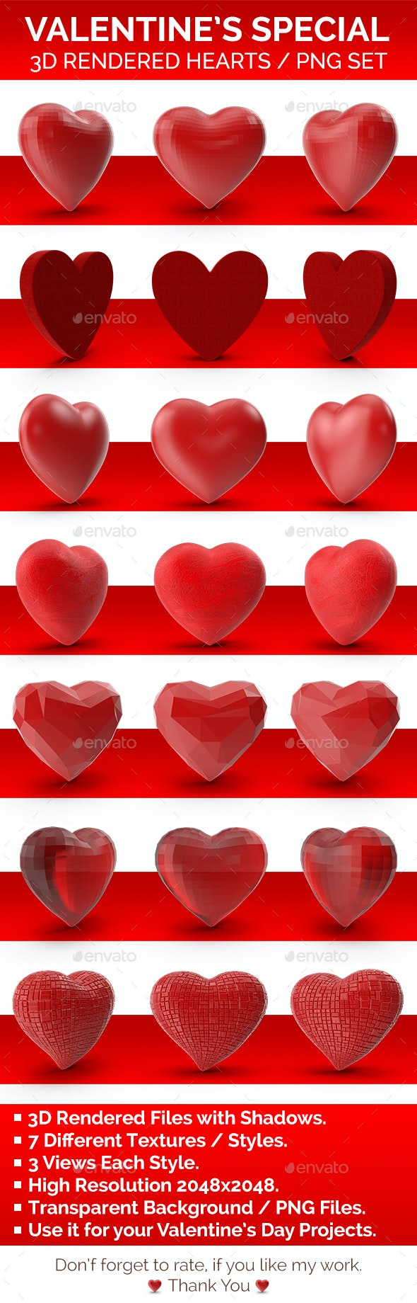 Valentine's Special Hearts PNG Set 3D Rendered with Shadows - 3D Backgrounds