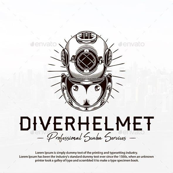 Diver Helmet Logo Template