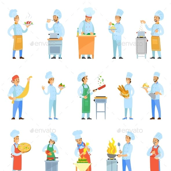 Cook Chefs Cooking Meal in Kitchen Set Vector