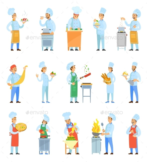 Cook Chefs Cooking Meal in Kitchen Set Vector - Food Objects