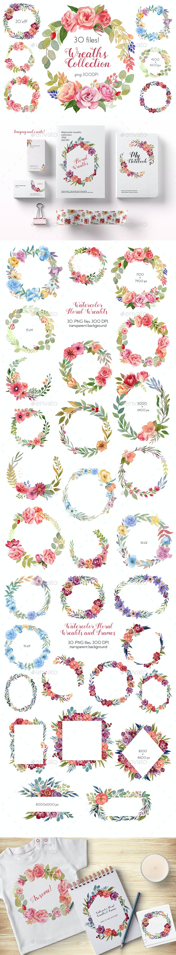 Watercolor Wreaths Collection (Set) - Objects Illustrations