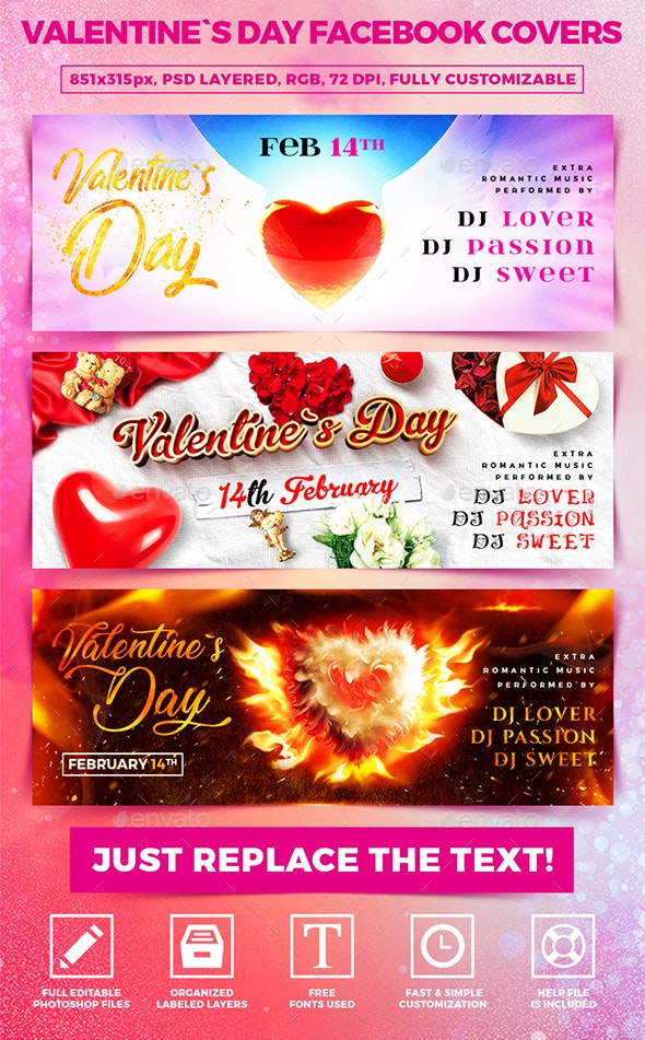 Valentine`s Day Facebook Covers - Banners & Ads Web Elements