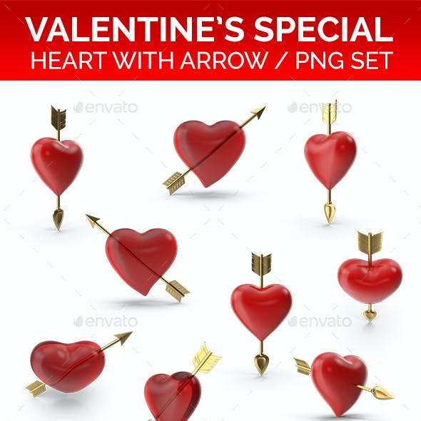 Heart with Arrow PNG Set