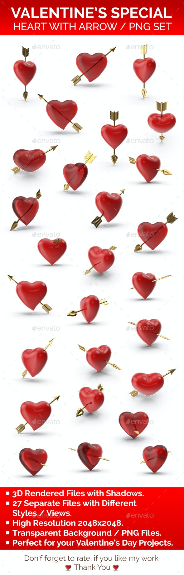 Heart with Arrow PNG Set - Objects 3D Renders