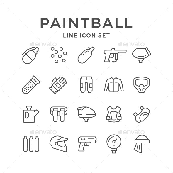 Set Line Icons of Paintball - Man-made objects Objects