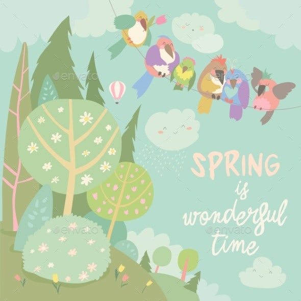 Cartoon Colorful Birds and Spring Landscape - Landscapes Nature