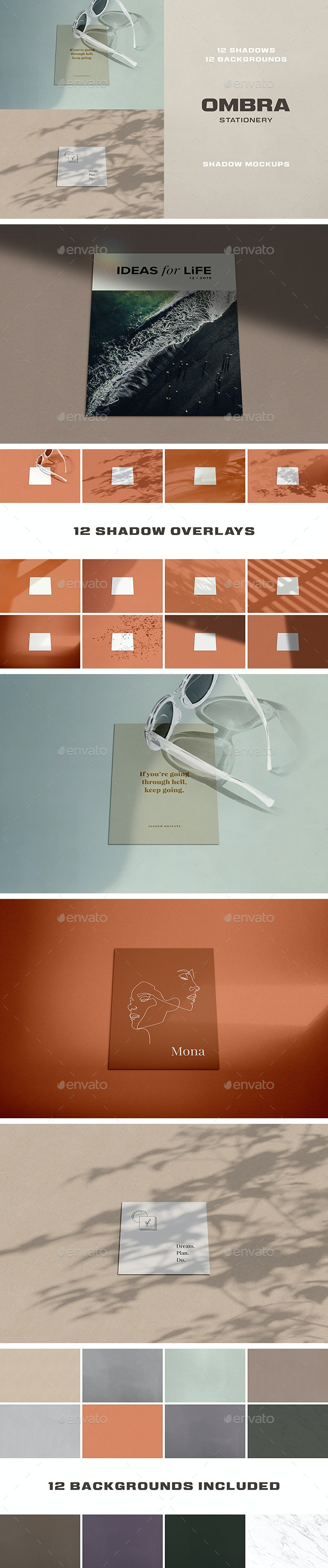 Ombra Stationery Shadow Mockups - Stationery Print
