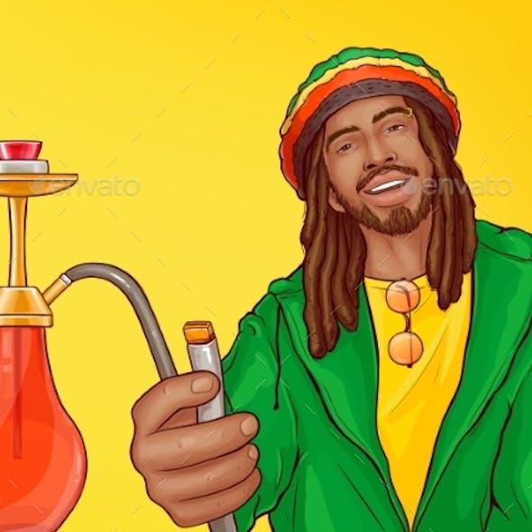 Rastafarian Man Smoking Hookah Pop Art Vector