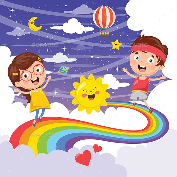 Vector Illustration of Kids Jumping on Rainbow - People Characters