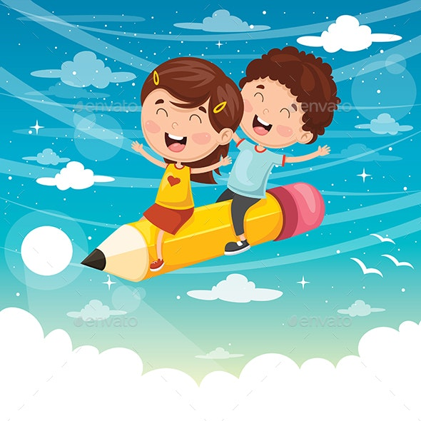 Vector Illustration of Kids Flying With Pencil - People Characters