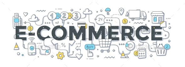 E-Commerce Word Doodle Concept - Concepts Business