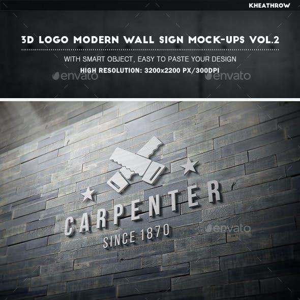3D Logo Modern Wall Sign Mock-Ups Vol.2