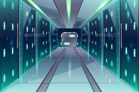 Vector Corridor in Spaceship Server Center - Computers Technology