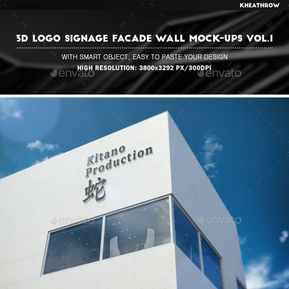3D Logo Signage Facade Wall Mock-Ups Vol.1
