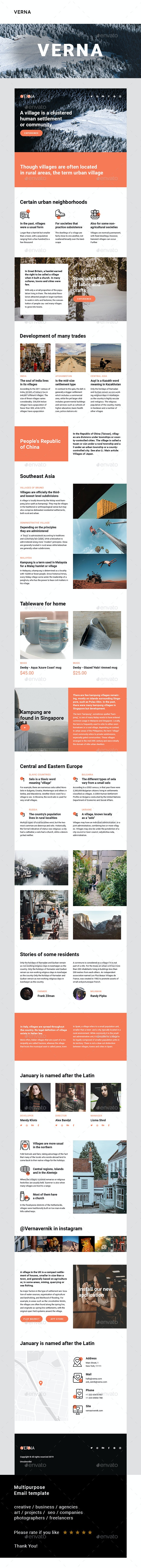 Verna – Multipurpose Email Template - E-newsletters Web Elements