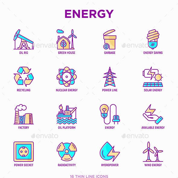 Energy | 16 Thin Line Icons Set