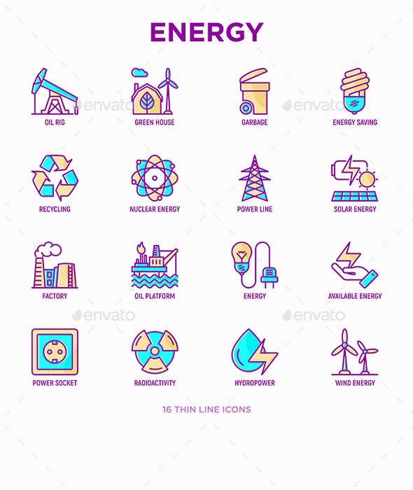 Energy | 16 Thin Line Icons Set - Technology Icons