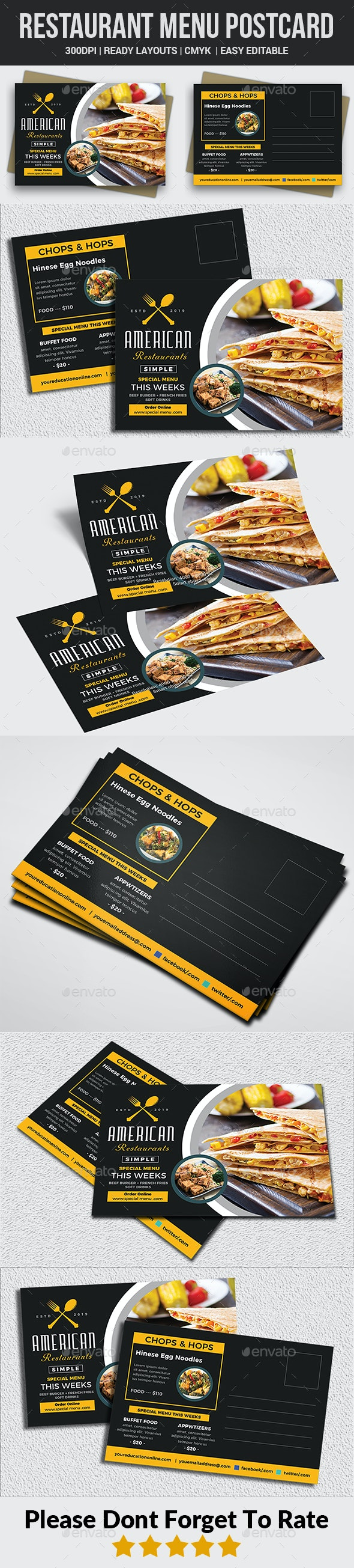 Restaurant Menu Postcard - Cards & Invites Print Templates