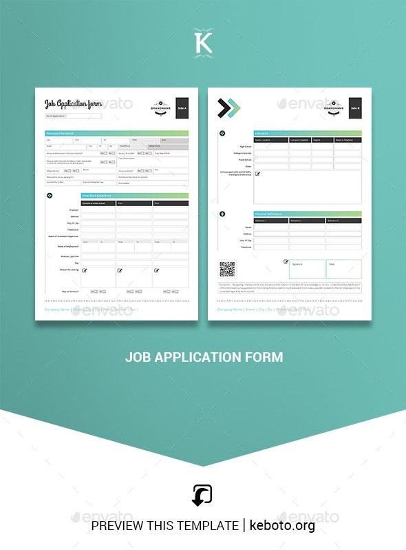 Job Application Form - Miscellaneous Print Templates