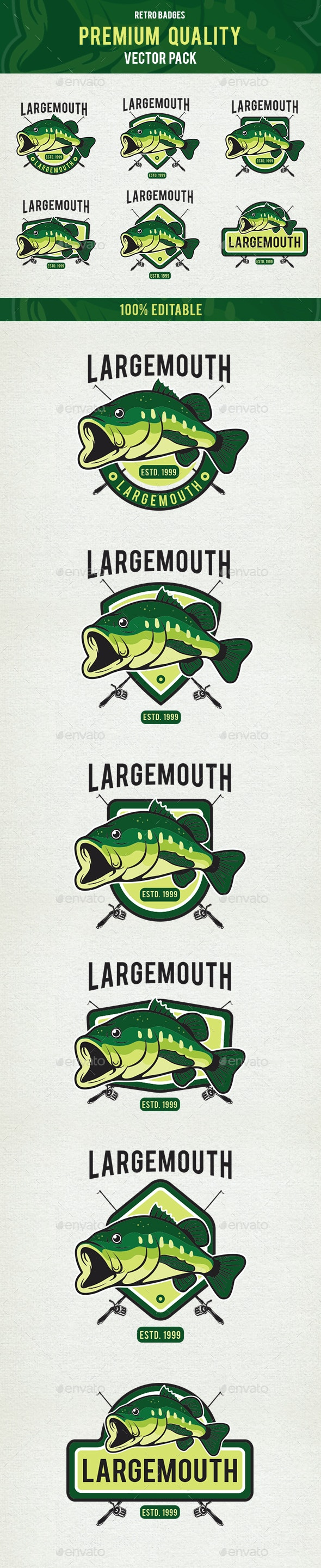 Largemouth Bass Fish - Premium Badges Vectors - Badges & Stickers Web Elements