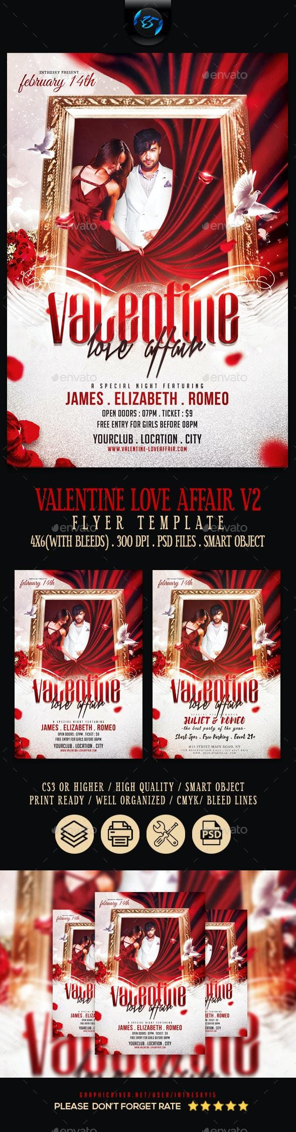 Valentine Love Affair V2 Flyer Template - Flyers Print Templates