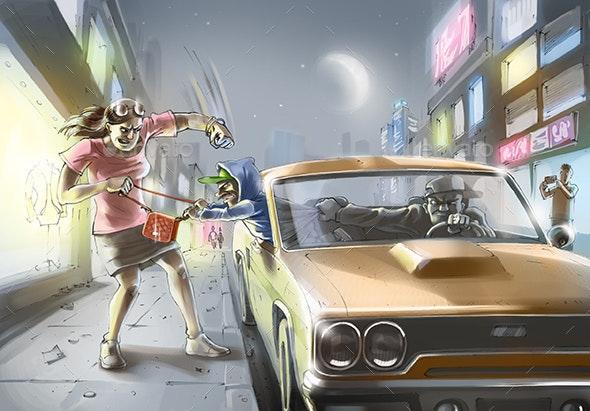 Shorty's Last Job - People Illustrations