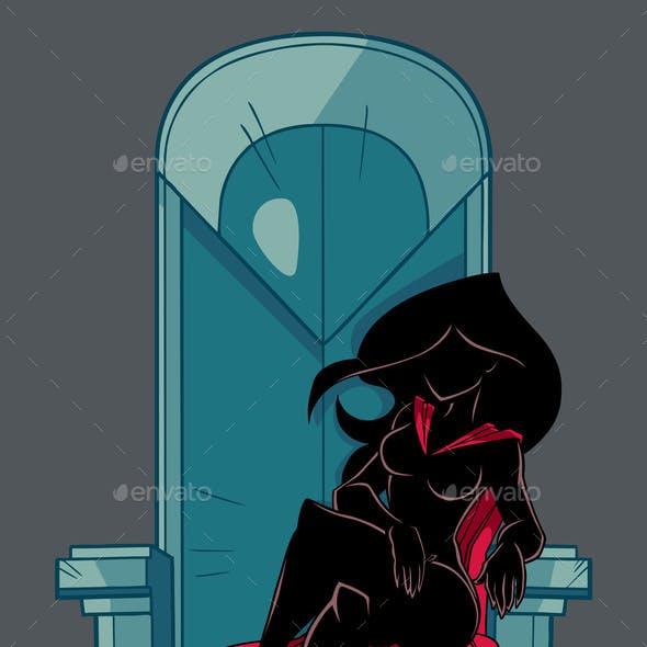 Superheroine on Throne Silhouette