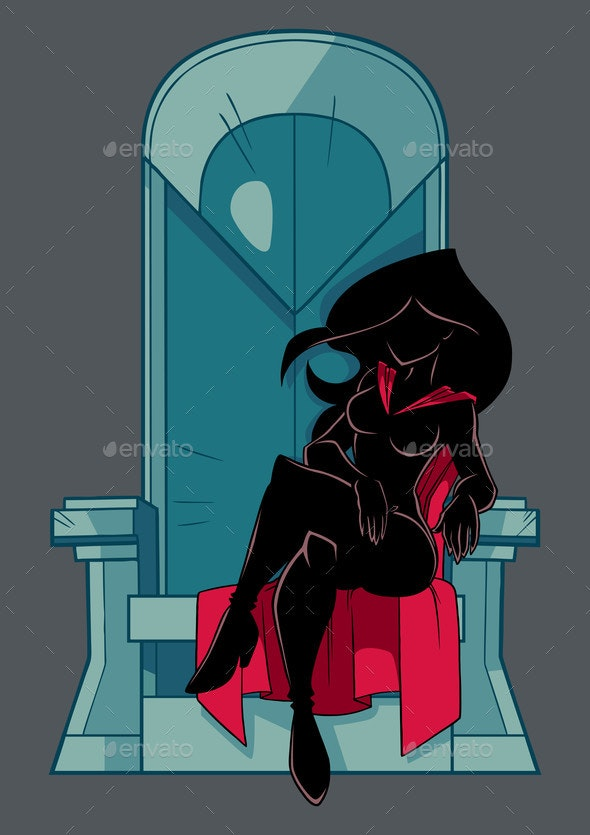 Superheroine on Throne Silhouette - People Characters
