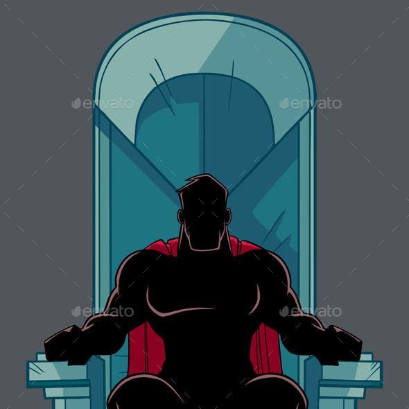 Superhero on Throne Silhouette