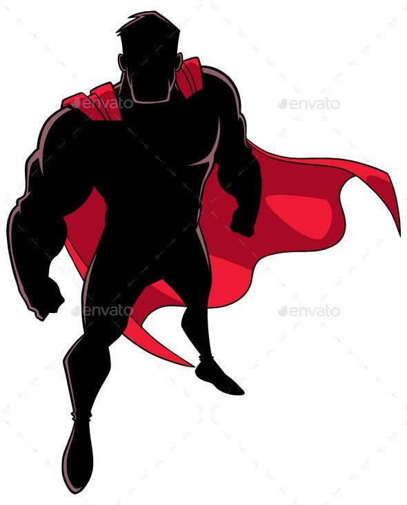 Superhero From Above Silhouette - People Characters