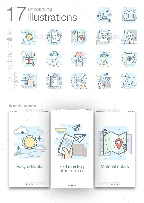 Onboarding outline colored illustrations - Web Icons