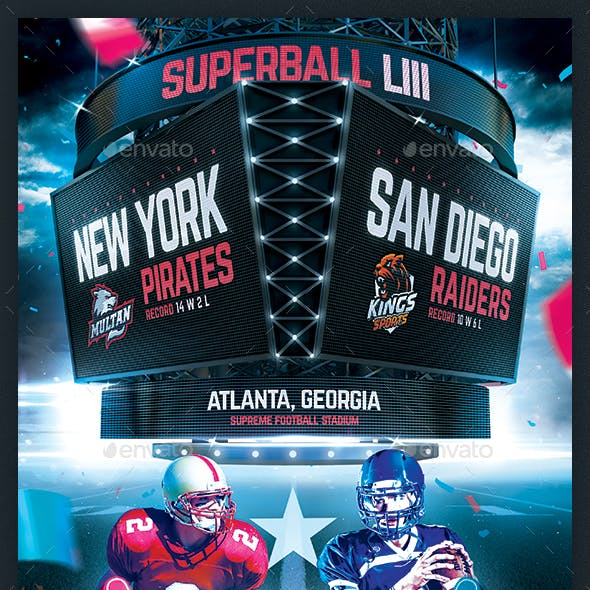 American Football Superball Flyer College Match Template