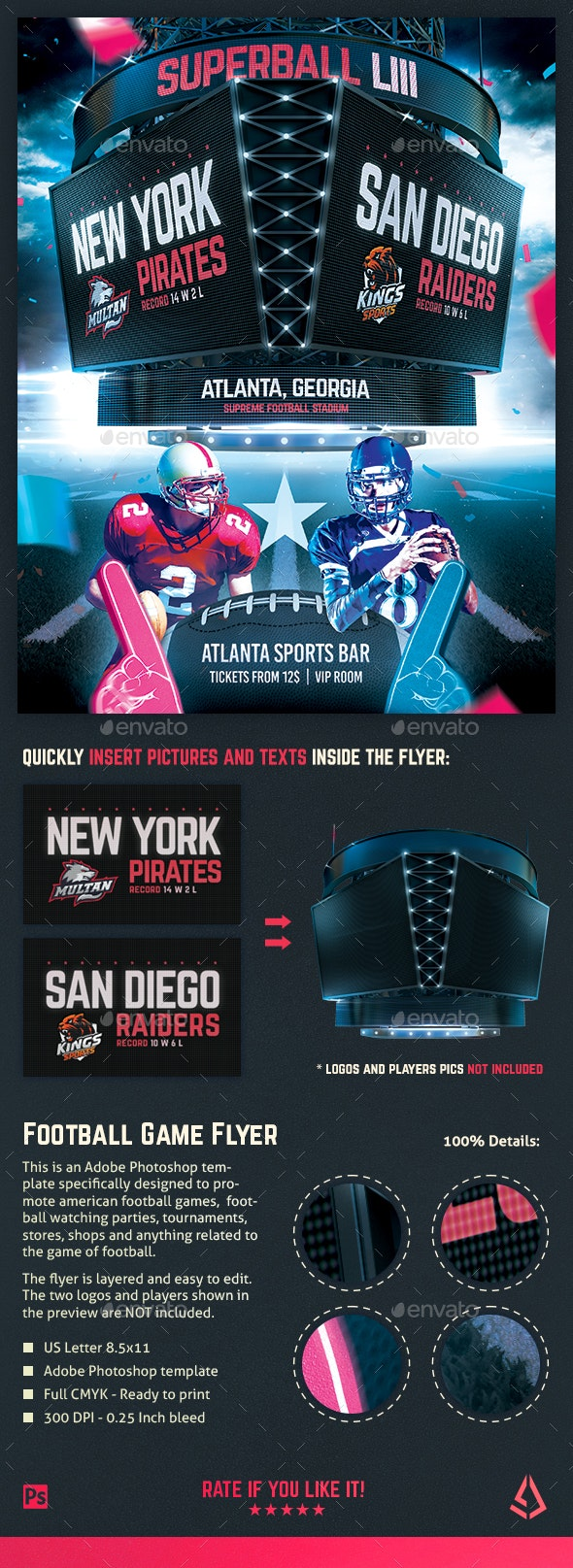 American Football Superball Flyer College Match Template - Sports Events