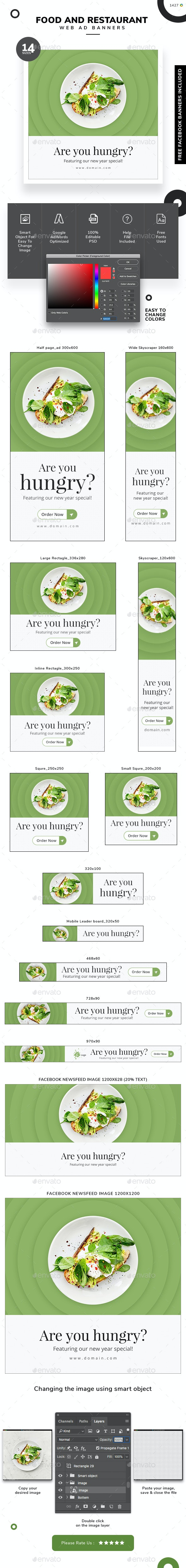 Food and Restaurant Banner Set - Banners & Ads Web Elements