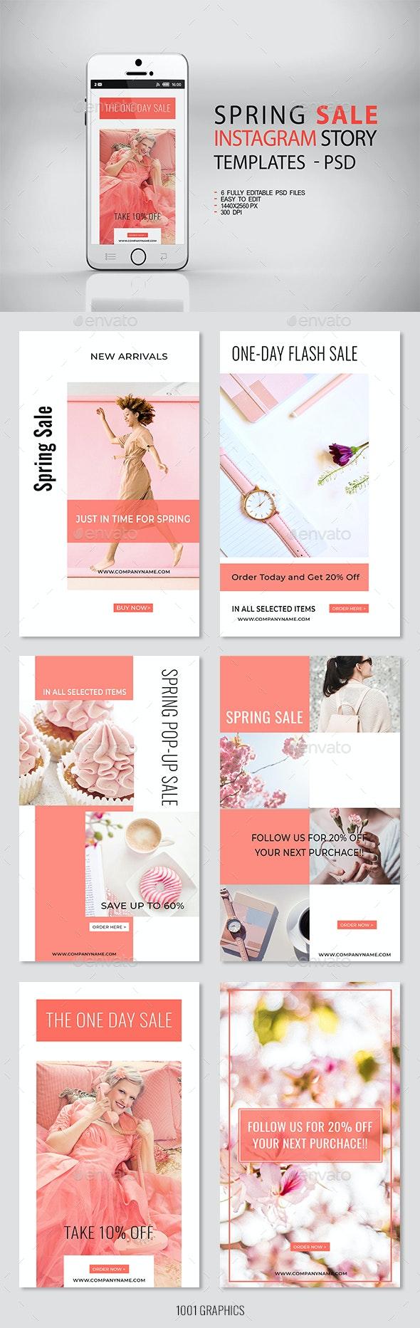 6 Spring Sale Insta-Story Templates PSD - Social Media Web Elements