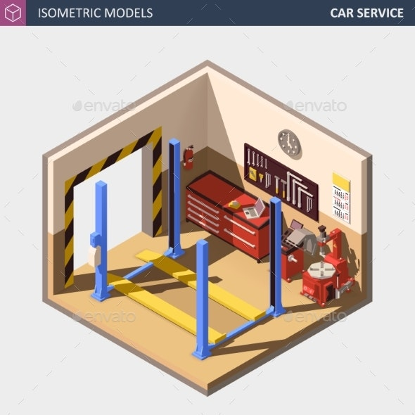 Vector Isometric Auto or Car Service Center - Man-made Objects Objects
