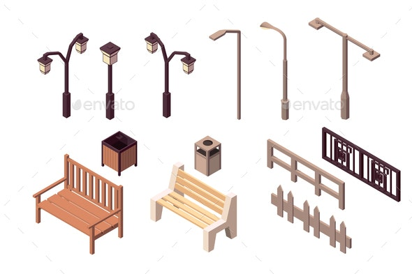 Collection of Street Elements for City - Man-made Objects Objects