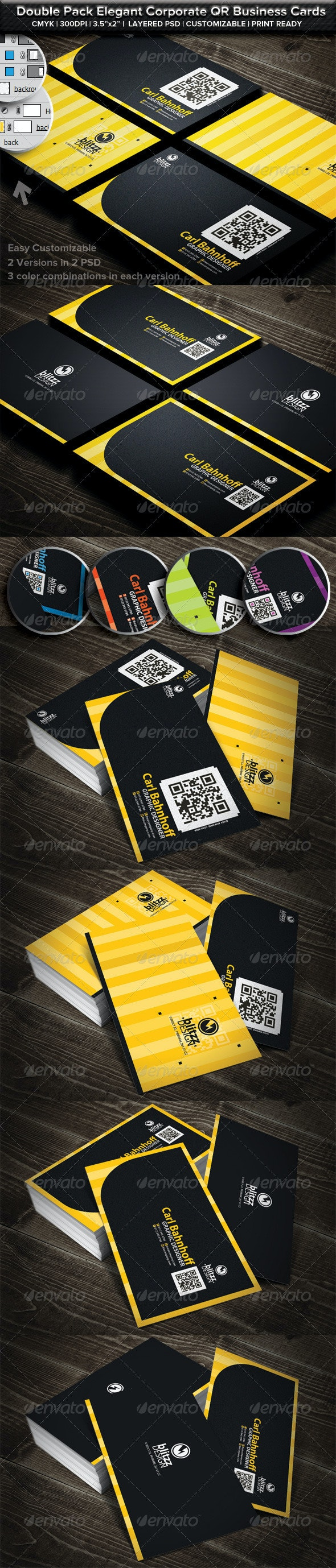 Double Pack Corporate QR  Business Cards - Business Cards Print Templates