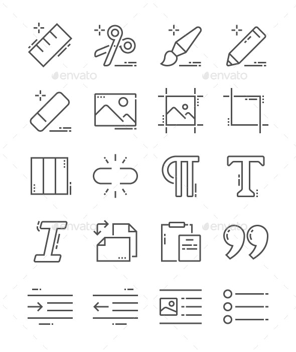 Edit Text Line Icons - Business Icons